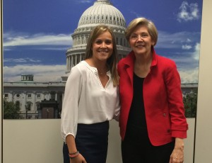 """Aprill Lane with Senator Warren, who said """"Thank you for all the work you do""""."""